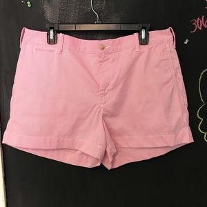 Polo pinkish red and white stripped shorts XL